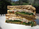 Roasted Turkey & Hummus Sandwich with Sweet Red Pepper and Spinach