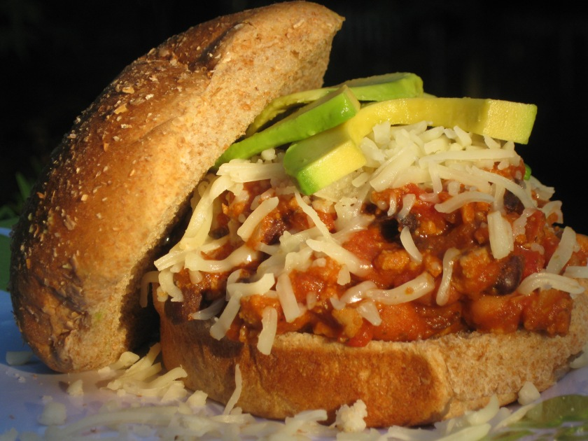 southwest turkey sloppy joes with mozzarella and avocado